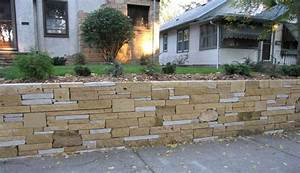 Limestone Retaining Wall - Midcentury - Landscape ...