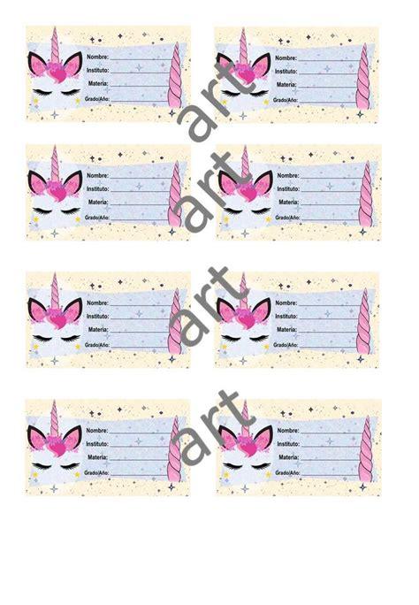 Etiquetas Escolares De Unicornio Para Imprimir Bs 15