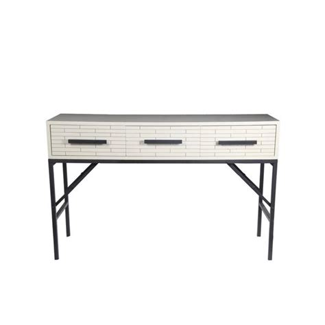 white wood console table privilege white wood and metal accent three drawer console