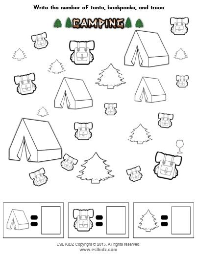 camping activities games  worksheets  kids