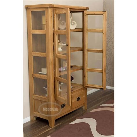 Vancoouver Rustic Oak Tall Display Cabinet   Best Price