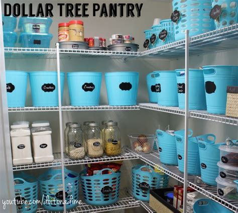 Dollar Tree Pantry Organization pretty blue. Under $100