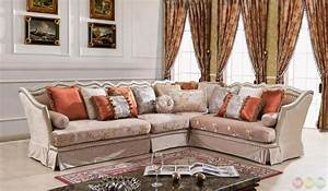 champagne formal antique style traditional living room With sectional sofa for formal living room
