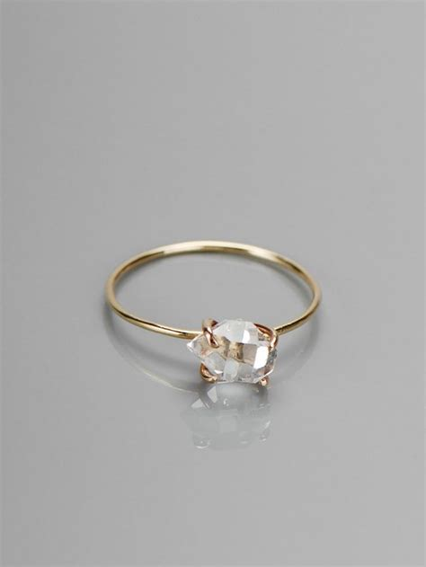 delicate herkimer diamond ring want pinterest
