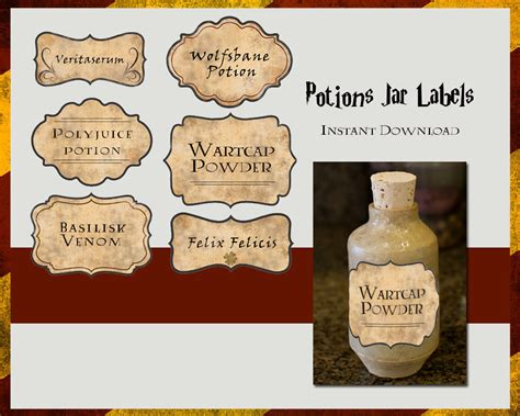 Harry Potter Potions Labels Digital File By Tlcarts On Etsy