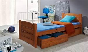 Lit Enfant Double : lit enfant avec 2 tiroirs en bois massif avec sommier ~ Teatrodelosmanantiales.com Idées de Décoration