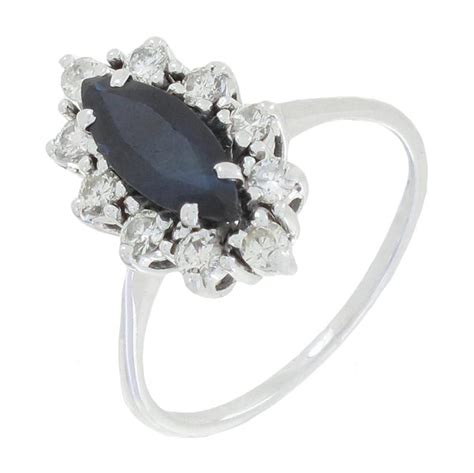 bague marquise diamants 0 50 carat et saphir en or blanc