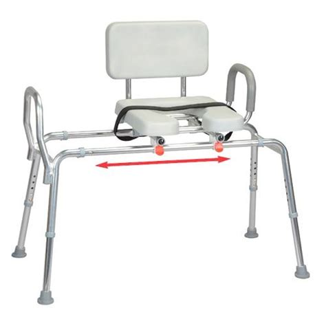 sliding transfer bench with padded cut out seat