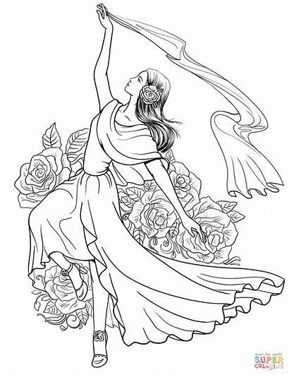 Coloring Spanish Pages Flamenco Dancing Woman Spain