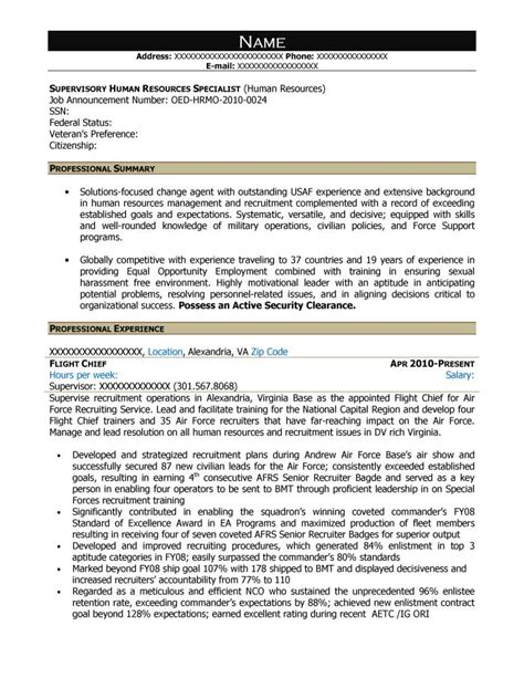 resume for human resources specialist free federal resume sle from resume prime