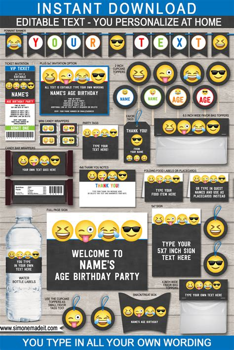 emoji theme party printables invitations decorations