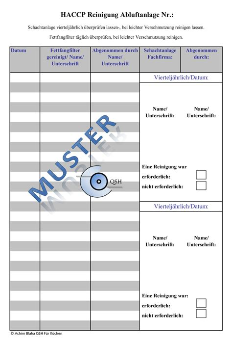 haccp checklisten fuer kuechen haccp excel formular