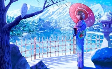 Anime Geisha Wallpaper - geisha with a umbrella on a beautiful winter day