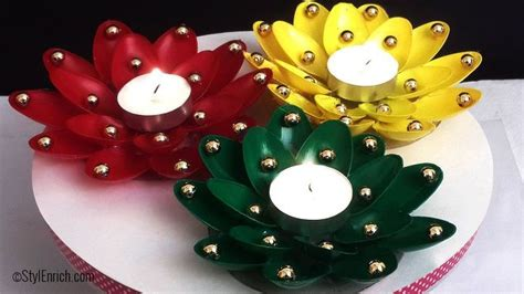 diy christmas candle holder craft using plastic spoons
