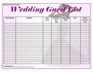 16 wedding guest list templates sample templates for Wedding invitations guest list templates