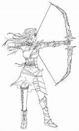 Archer Female Lineart Sketch Deviantart Template Coloring Pages sketch template