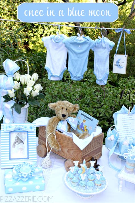 blue baby shower once in a blue moon baby shower pizzazzerie