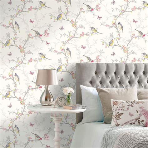 shabby chic feature walls shabby chic floral wallpaper in various designs wall decor new free p p ebay