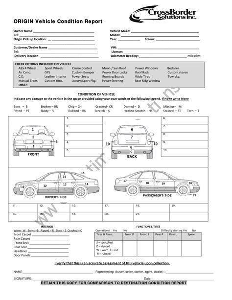 vehicle inspection form template vehicle condition report templates word excel sles