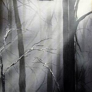 Easy black white misty forest painting in acrylic and ...