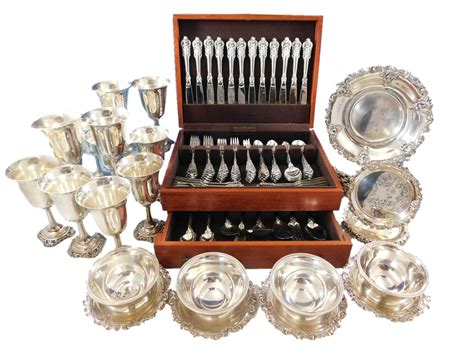 plates baroque sterling wallace silver hollowware flatware grande pc