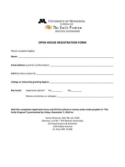 open house registration form   templates