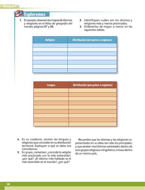 Libro de geografía 5 grado contestado pagina 96. Geografía quinto grado 2017-2018 - Página 100 - Libros de Texto Online