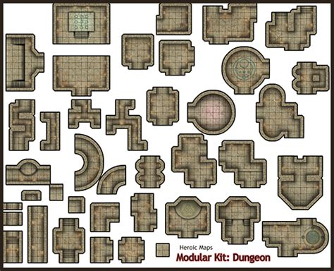 Dungeons And Dragons Tiles Printable by Dungeon Heroic Maps