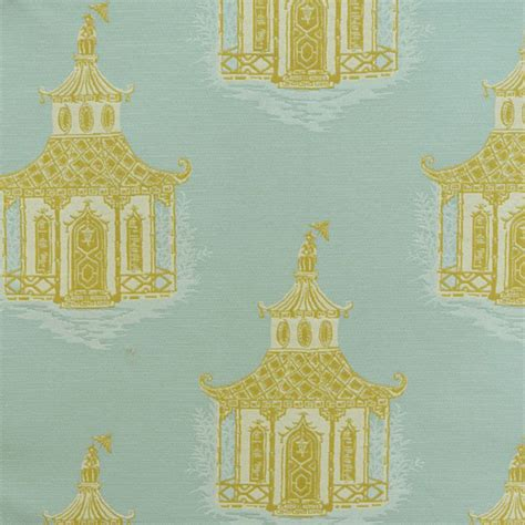 Mod Pagoda Dew Green Oriental Design Upholstery Fabric By