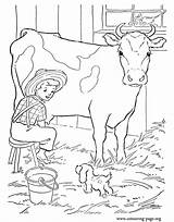 Cow Coloring Farm Pages Cows Milking Boy Colouring Printable Calf Dairy Barn Man Calves Ingalls Laura Animals Animal Print Wilder sketch template