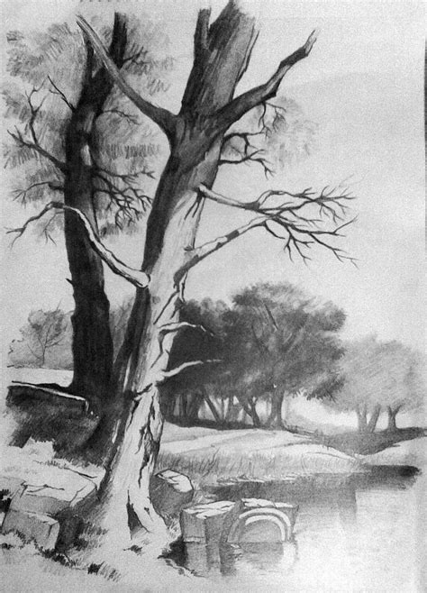 pictures easy pencil sketches  landscapes  beginners