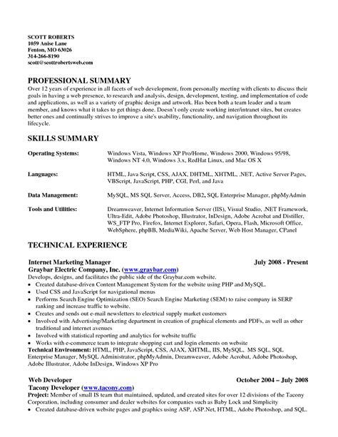 resume summary of qualifications exles exle resume skills summary resume sles