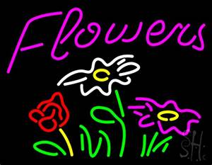 Pink Flowers Logo Neon Sign Flower Neon Signs