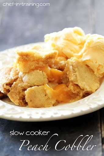 ingredient slow cooker peach cobbler recipe  susan