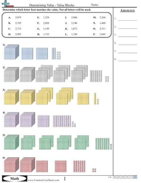 4th grade math common place value worksheets common