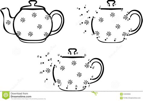 Cartoon Coffee Pot. Vector Illustration. Coloring And Dot