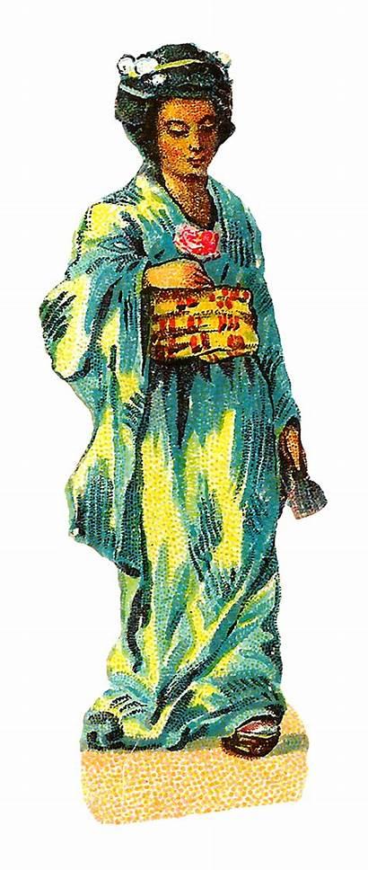 Kimono Japanese Clip Digital Asian Lady Clipart