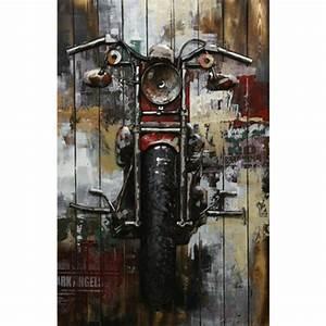 Tableau Metal En Relief : tableau contemporain bois et m tal moto 80x120 en relief m tal ~ Teatrodelosmanantiales.com Idées de Décoration