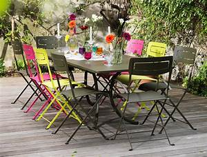 table de jardin fermob soldes conceptions de maison With table jardin metal ronde pliante 5 table repas de jardin ronde bistro diam 117cm fermob