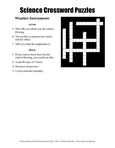 science crossword puzzles weather instruments worksheet