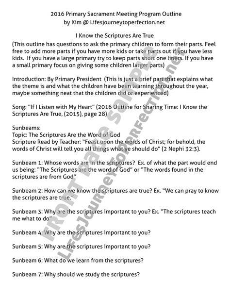 lds primary sacrament meeting program outline tips