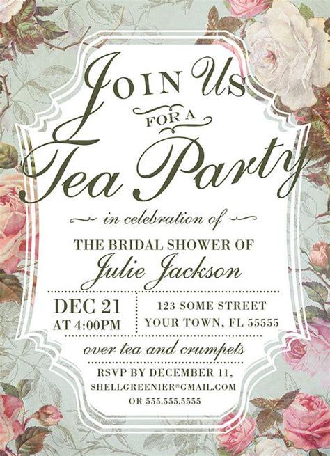 bridal shower tea invitation template vintage