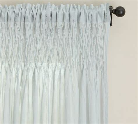 Smocked Curtains Drapes - smocked cotton voile pole pocket drape 42 x 84