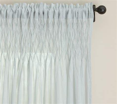 smocked cotton voile pole pocket drape