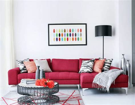 modern living room  white walls   sectional red