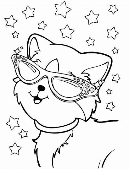 Coloring Lisa Frank Cat Glasses Wearing Cats