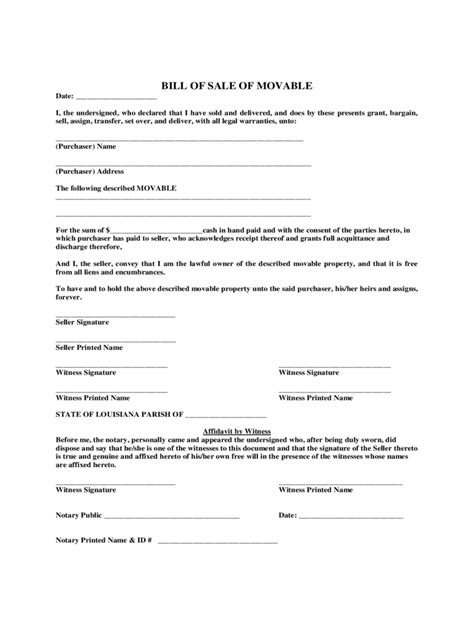 louisiana bill  sale form  templates   word