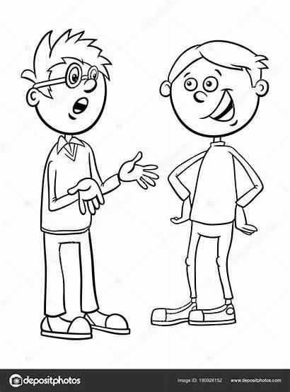 Talking Cartoon Boys Kid Coloring Characters Praten