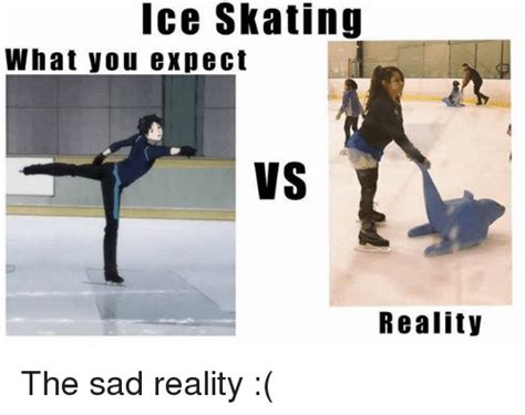 Skating Memes - ice skating what you expect vs reality the sad reality meme on sizzle