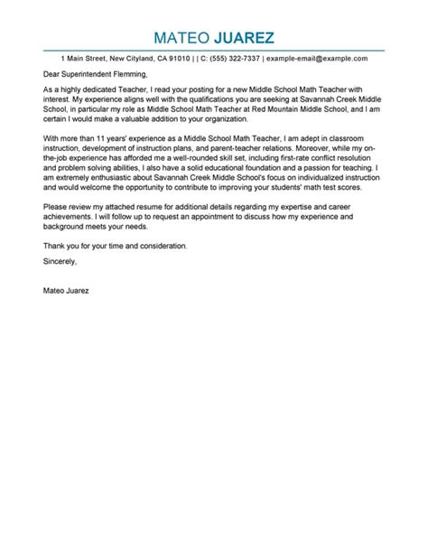 exles of covering letters for teaching best cover letter exles livecareer